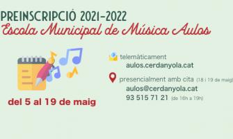 Imatge Preinscripció Escola Música Aulos 2021-22